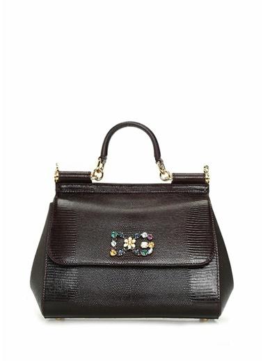 Dolce&Gabbana Dolce&Gabbana Mürdüm Logo Detaylı  Kadın Deri Omuz Çantası 101557071 Mürdüm